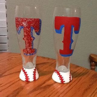 Texas Rangers beer glasses