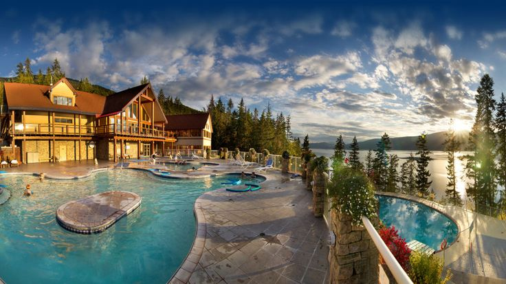 Halcyon Hot Springs, BC. Big pool has a lazy river current. <3 :http://halcyon-hotsprings.com/