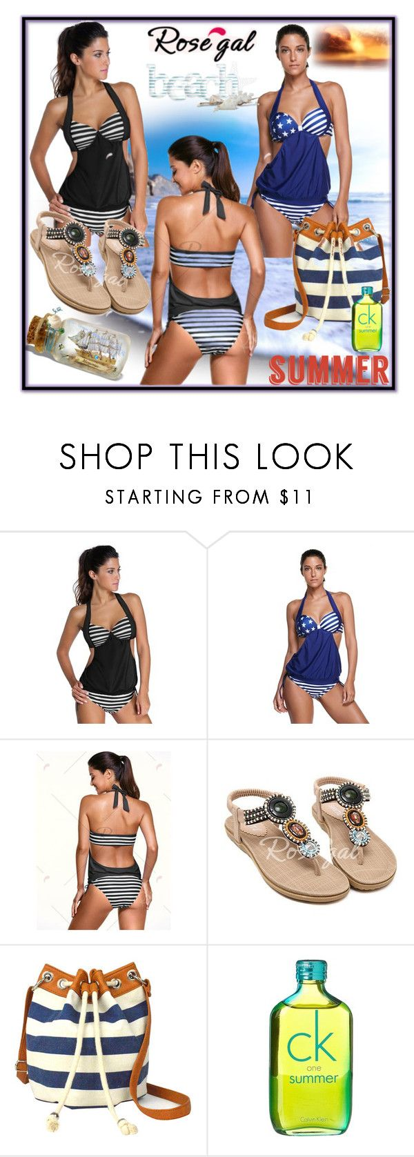 """""""Striped Tankini Swimsuit"""" by nedim-848 ❤ liked on Polyvore featuring Arizona and Calvin Klein"""