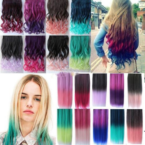 Cheap clip in hair extension tips, Buy Quality clip design directly from China clip food Suppliers: Women Gradient Hair Clip on Hair Pieces Highlight Colored Hair Synthetic Hair Wavy Ombre Hair Extensions Colorful Hair