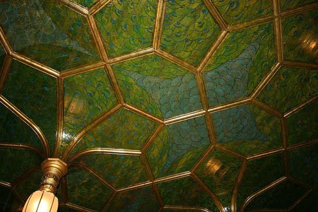 Gilded leather ceiling close-up in The Peacock Room   Paint + Pattern