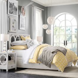 Color combination is pretty. Light yellow bedding and grey walls. Decor  ideas too.