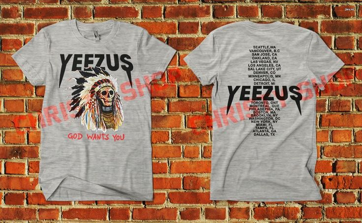 Kanye West Yeezus Tour Merch red indian skull new god wants you tour shirt yeezy #Unbranded #PrintedShirt