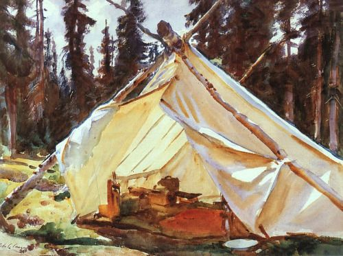 """paintingbox: """" John Singer Sargent. A Tent in the Rockies. 1916. Isabella Stewart Gardner Museum, Boston, MA. Watercolor on paper. 39.2 x 53.2 cm """""""