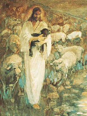 """The Black Sheep is what I named this picture.     ...""""Rescue of the Lost Lamb"""" by Minerva Teichert this painting hangs in the Manhattan New York Temple """"I am the good shepherd: the good shepherd giveth his life for the sheep"""" (John 10:11). I love this picture!!"""