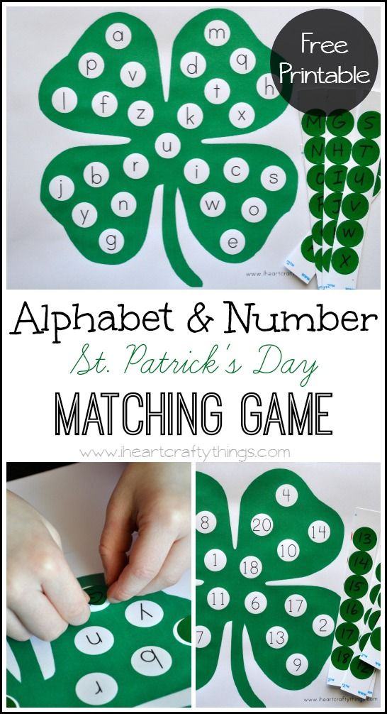 St. Patrick's Day Alphabet and Number Matching Game for kids. Great review and practice for preschool.   from iheartcraftythings.com