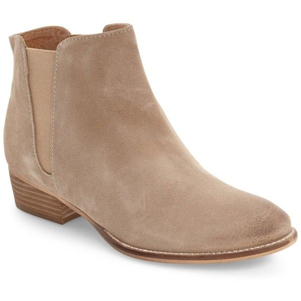 Seychelles Wake Chelsea Boot ($90) ❤ liked on Polyvore featuring shoes, boots, ankle booties, natural suede, genuine leather boots, leather slip-on shoes, seychelles boots, pull on boots and pull on leather boots