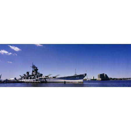 USS New Jersey battleship Camden New Jersey USA Canvas Art - Panoramic Images (12 x 36)