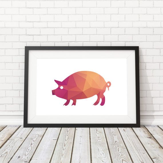 Cute Pig Poster Animal Art Pig Print Animal by BatLabPrintables