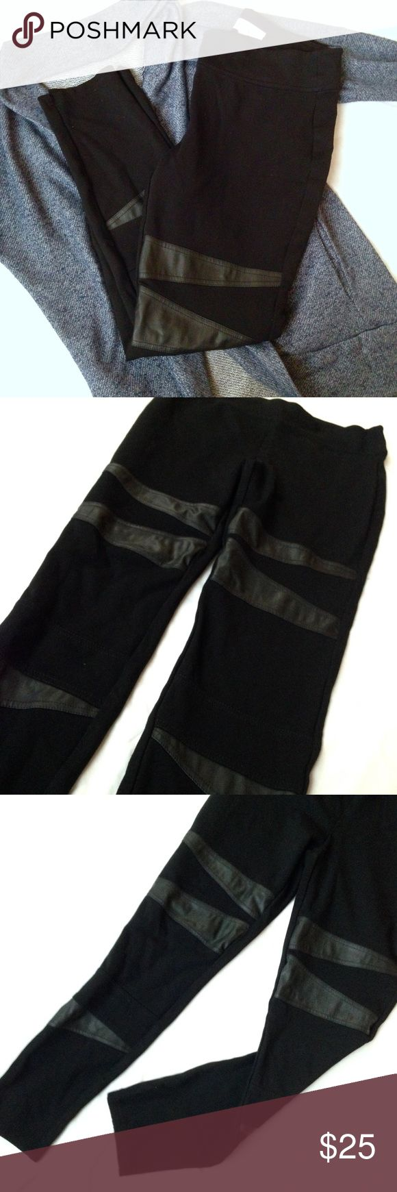 "Vince Camuto black leggings Thick black leggings with trendy faux leather embellishments. Gives an edgy look to your outfit, and as a plus: doesn't let your panties show through! Super comfortable, feels like you're wearing fashionable workout wear. Waist: 15"" with stretch. Length: 35"". Inseam: 27"". ❣Make an offer!❣❌No trades!❌ Two by Vince Camuto Pants Leggings"