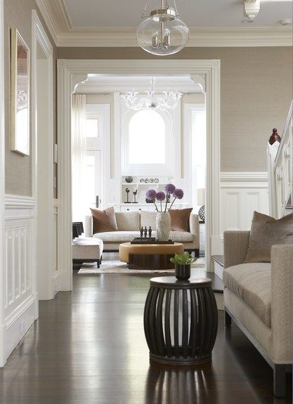 Taupe Walls With White Wainscotting And Molding Designed By Meichi Peng Design Studio
