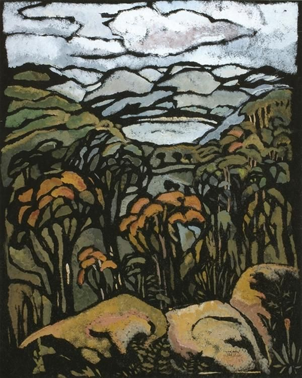 Margaret Preston, Untitled - Landscape with Trees, c.1953
