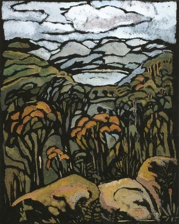 Margaret Preston, Untitled - Landscape with Trees, c.1953