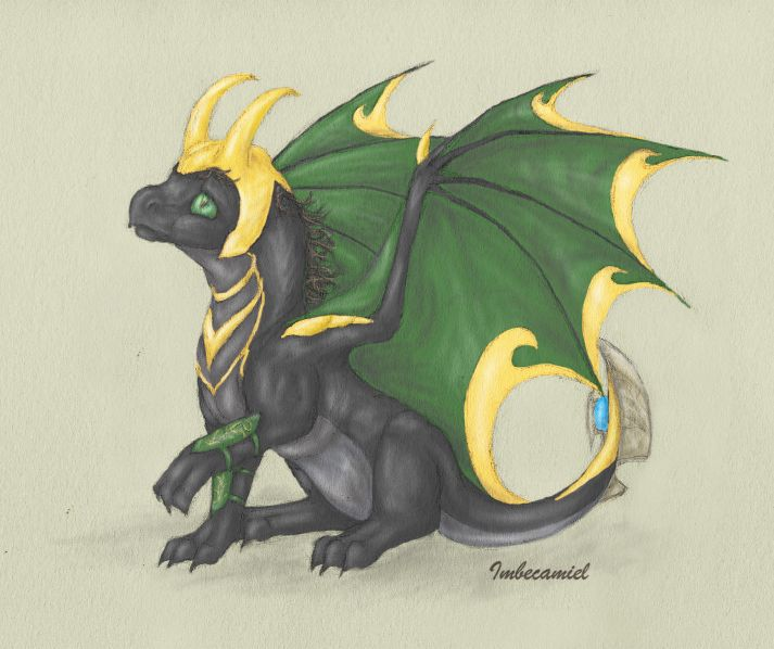 'Oops.' - aka Baby Loki Dragon by ~Imbecamiel on deviantART(link to all avengers as dragons)