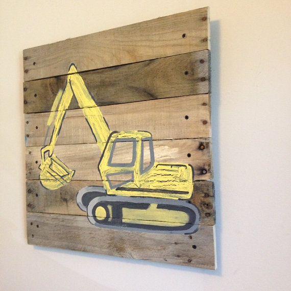 Backhoe Loader painted on pallet wood