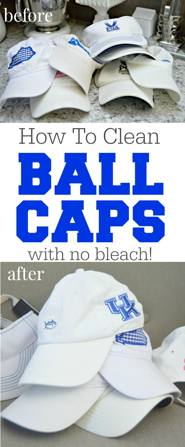 How To Clean Ball Caps easily. Got dirty ball caps or golf hats? It's super easy to clean them and remove sweat stains and dirt with no bleach at all!…