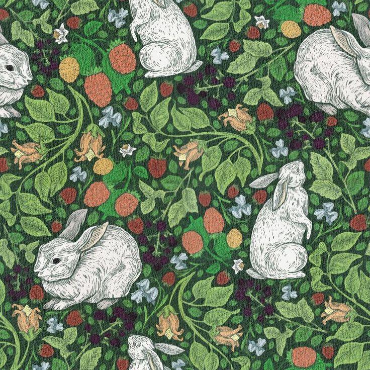 Antique Watercolor Floral Wallpaper, Darkish Colourful Wallpaper, Detachable Wallpaper, Botanical and Bunny Wall Mural, Children Wallpaper | W1228