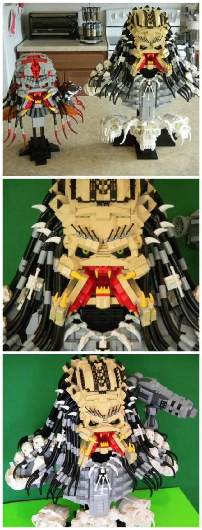 Predator alien made from lego blocks