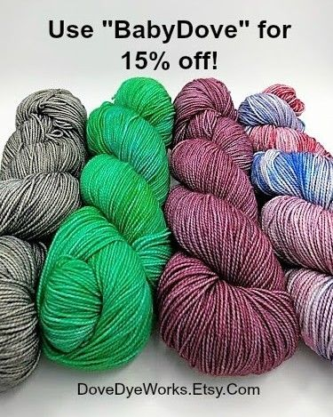 """Here's a coupon to celebrate! Use """"BabyDove"""" to get 15% off on any #dovedyeworks order! Check it out at Dovedyeworks.etsy.com! #yarn #yarnporn #sockyarn #sockknitting #knitting #knittingaddict #shawlknitting #yarnsale #crochet #crocheteveryday #crochetersofinstagram #knittersofinstagram #indiedyer #handdyed #handdyedyarn"""