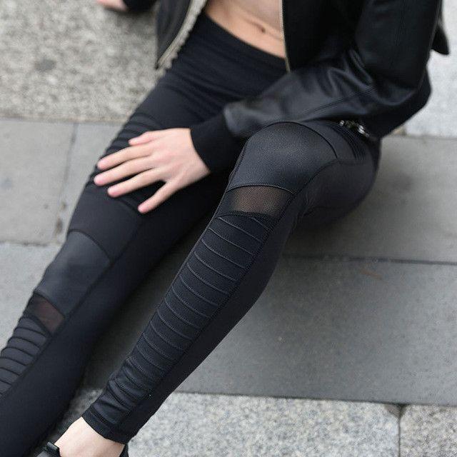 Flora M Women Elastic waistband Yoga pants with Mesh Panels High Waisted Moto Leggings in White Sport Yoga Leggings S/M/L FT025