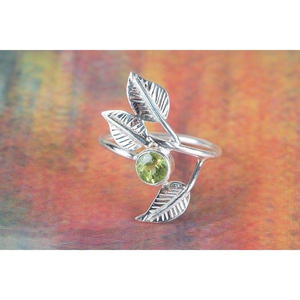 925 Peridot Gemstone Silver Ring via Polyvore featuring jewelry, rings, peridot jewelry, peridot silver jewelry, gem rings, silver rings and peridot jewellery