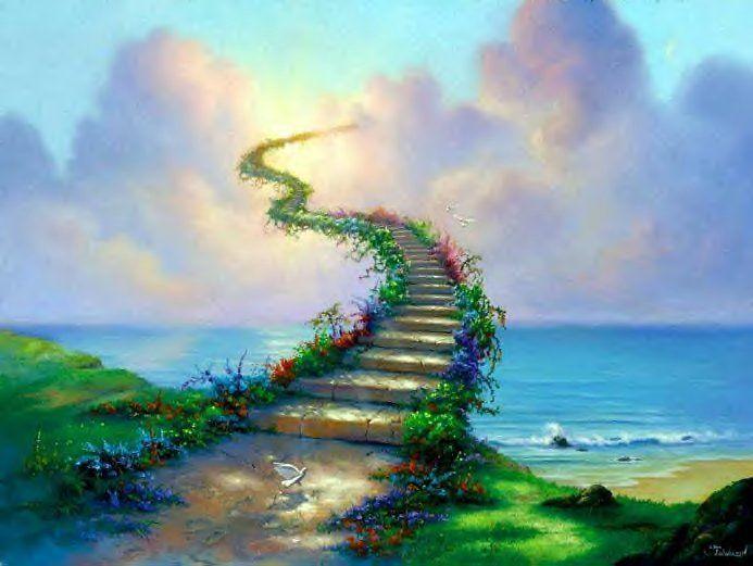 """rainbow bridge"": Rainbowbridg, Stairwaytoheaven, Paths, Stairs, The Rainbows Bridges, Josephine Wall, Stairways To Heavens, Inspiration Quotes, Jesus Love"