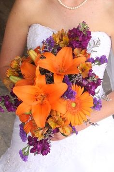 Wedding Bouquets Made With Fall Decor Purple And Orange Flowers Bouquet