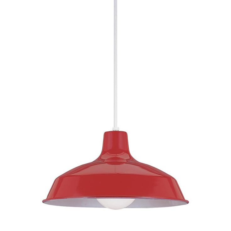 Sea Gull Lighting Painted Shade Pendants 1-Light Red Pendant