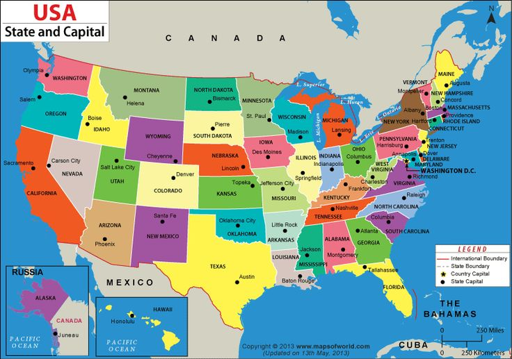United States Map With States And Capitals