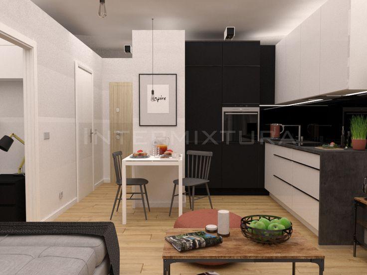 Trojmiasto Slupsk I Okolice Projekt Wnetrza I Fotorealistyczna Wizualizacja 3d Salonu Z Aneksem Home Decor Kitchen Cabinets Kitchen