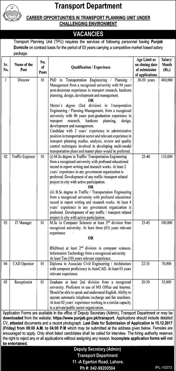 Transport Department Jobs 2017 In Lahore For Director And Manager http://www.jobsfanda.com/transport-department-jobs-2017-lahore-director-manager/