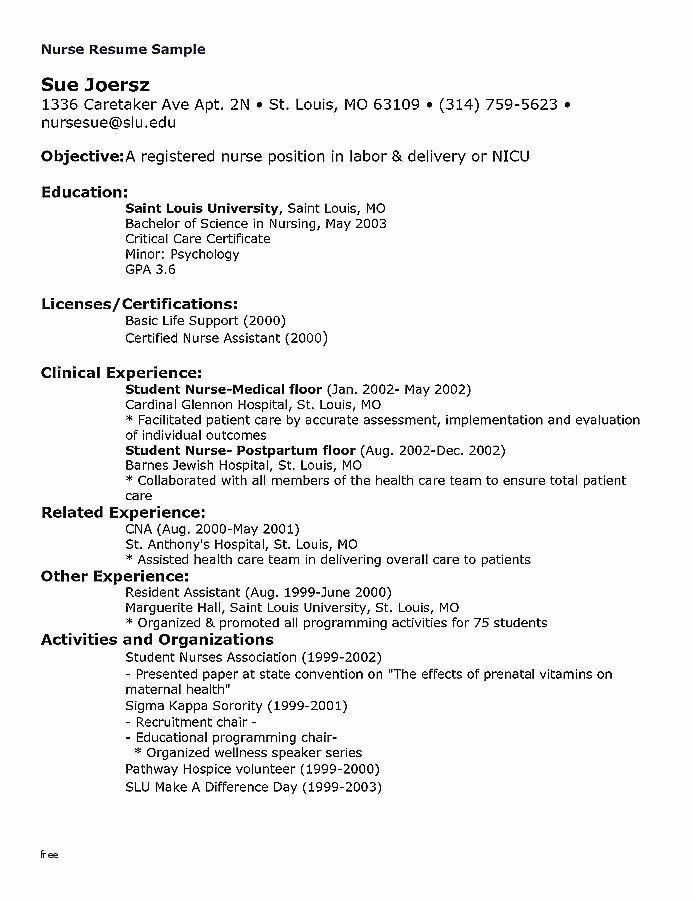 Resume Template For Education Unique New Graduate Nursing Resume Cover Letter Inspirational Resume