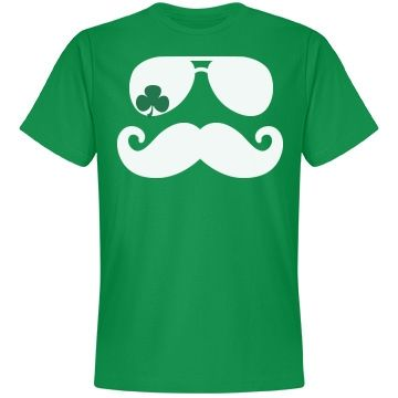 Shamrock Mustache | Mustache shirt with some a shamrock flare for St. Patrick's Day.