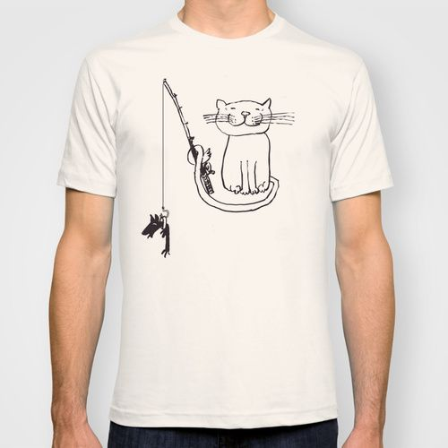 Add T-shirts & more | Society6 cat fishing with dog as bait Tee shirt us$ 22.00