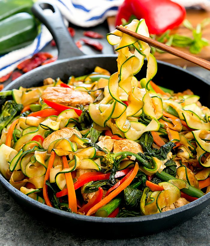 Drunken Zucchini Noodles is a lighter, low carb version of the popular Thai dish using zoodles instead of rice noodles. It's quick, easy and delicious.