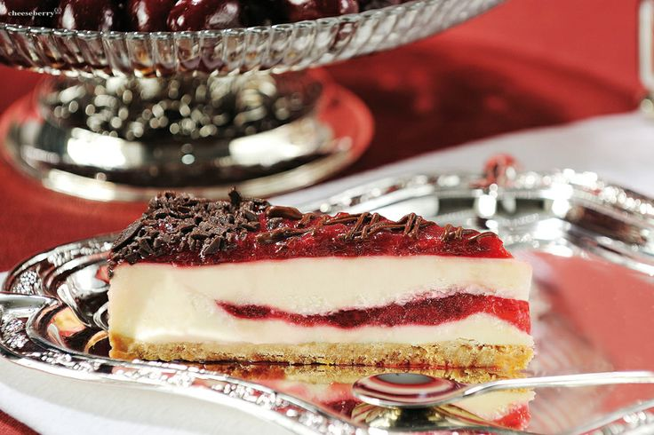 New-York  Cheesecake with Cherries  Excellent vanilla cream cheese manufactured with cream curd cheese Cheeseberry and pieces of ripe cherries - perhaps one of the most traditional and universal combinations, while preserving its relevance appetizing always and everywhere.