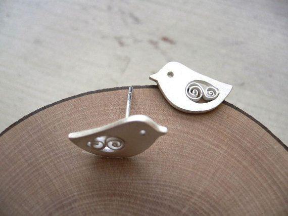 Bird Stud Earring Animal Silver Accessory by StudioRhino on Etsy, $24.00