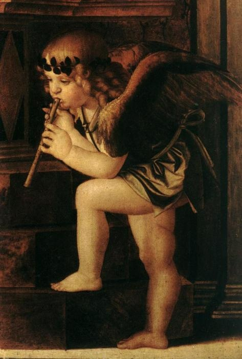 Frari Triptych ~ Musical Angels ~ 1488 ~ Giovanni Bellini (Venice,1430-1516) ~ Giovanni Bellini was an Italian Renaissance painter, probably the best known of the Bellini family of Venetian painters. His father was Jacopo Bellini, his brother was Gentile Bellini, and his brother-in-law was Andrea Mantegna.