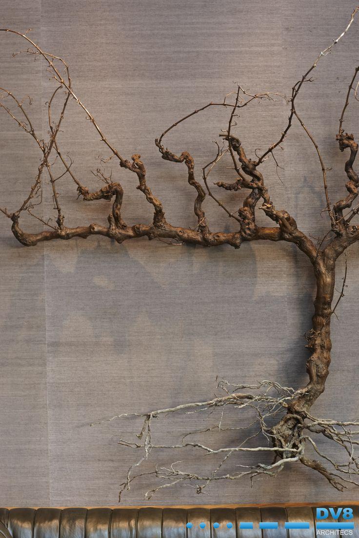 Ellerman Wine gallery. Close up view of bronze vine sculpture by Nic Bladen