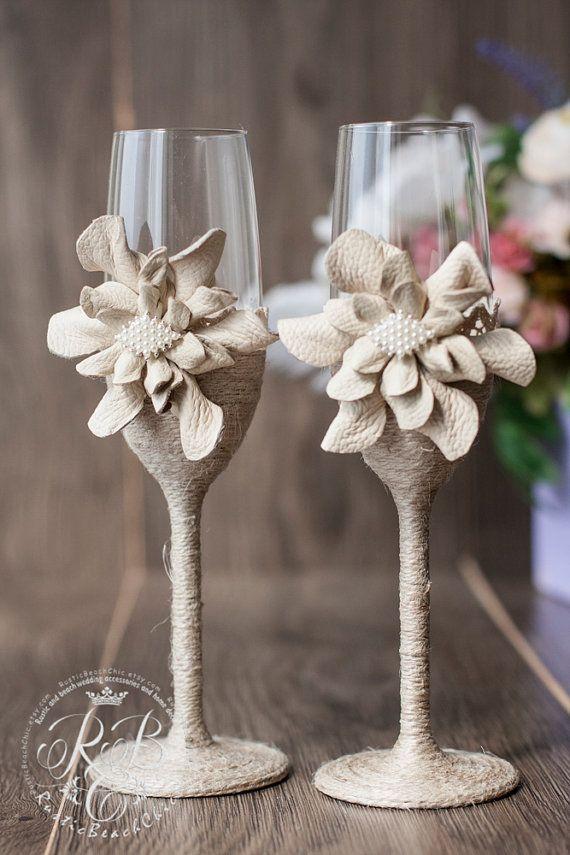 IVORY Wedding glasses/ rustic wedding  Vintage от RusticBeachChic