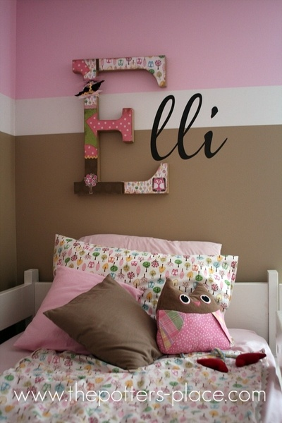 I like this combination. Wood letter covered in scrapbook paper + painting the rest of the name on the wall. Fun!