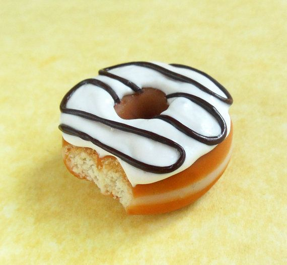 chocolate drizzle polymer clay doughnut magnet