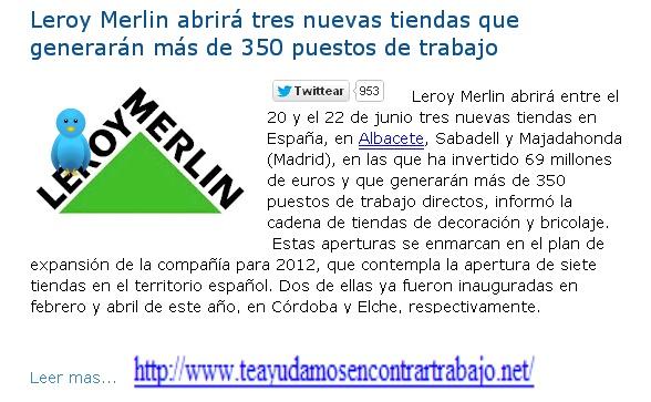 Leroy Merlin abrirá tres nuevas tiendas que generarán más de 350 puestos de trabajo