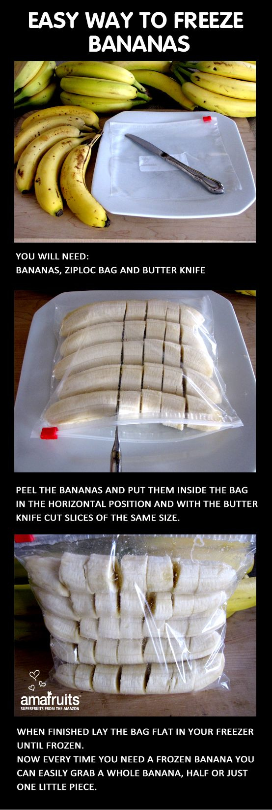 Freeze bananas with no mess and have better portion control.