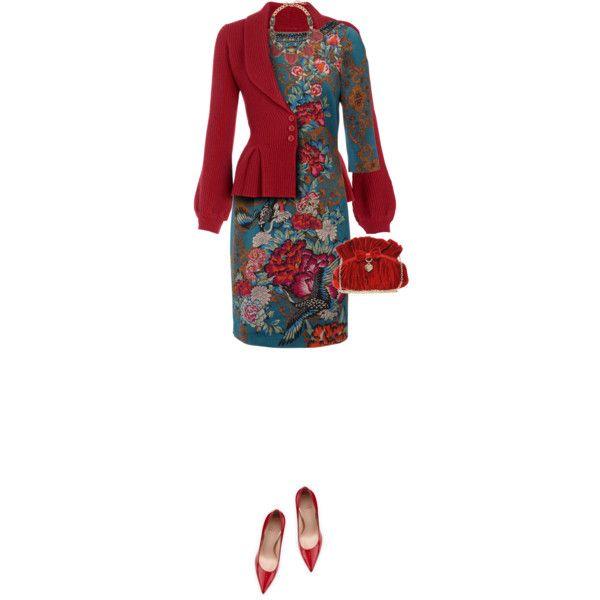Monsoon Dress & Cardigan, created by yasminasdream on Polyvore