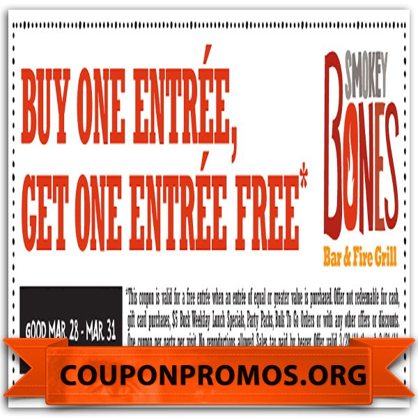 image relating to Smokey Bones Coupons Printable identified as Smokey bones discount codes september 2019