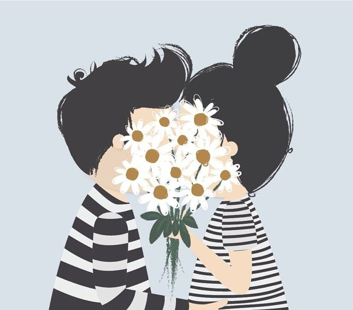 illustrated by @lubiatelier   #illustration #happy #daisies ... One of my fave pic poses :)