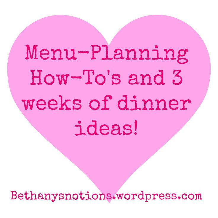 Menu-planning, dinner ideas, free printable.