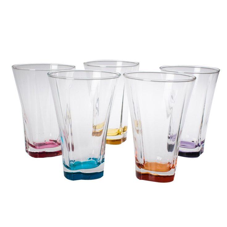 Σετ 6 τεμαχίων ποτήρια νερού γυάλινα σε διαφορετικά χρώματα.
