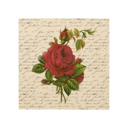 Vintage Red Rose Wood Prints